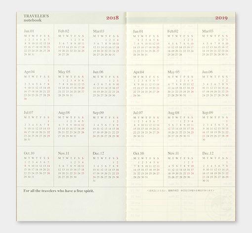 Kalendarz Travelers Notebook tygodniowy + memo weekly 2018 regular Diary 2018 sklep pioromaniak