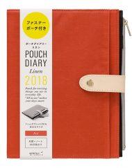 Kalendarz Midori Pouch Diary 2018 Linen Red A5 sklep Pioromaniak