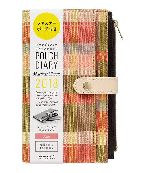 Kalendarz Midori Pouch Diary 2018 Madras Check Pink Slim sklep Pioromaniak