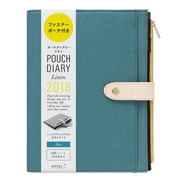 Kalendarz Midori Pouch Diary 2018 linen Blue A5 sklep Pioromaniak