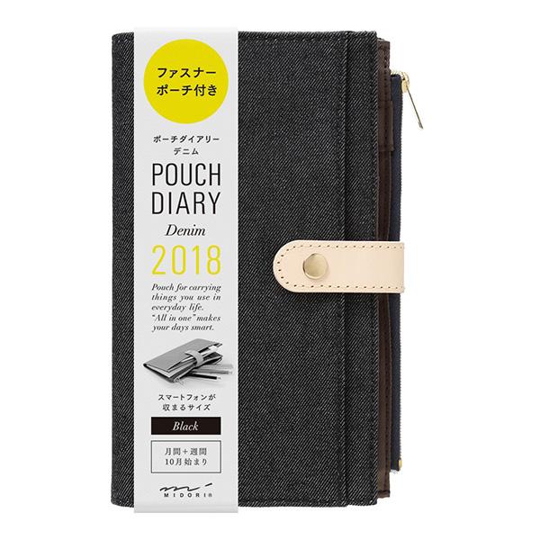 Kalendarz Midori Puch Diary 2018 Denim Black Slim sklep Pioromaniak