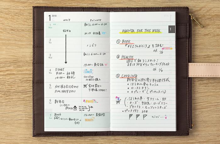 Midori Pouch Diary Slim - uklad