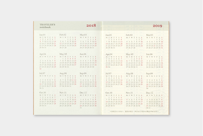 Kalendarz Travelers Notebook tygodniowy + memo weekly 2018 Passport Diary Passport 2018 sklep pioromaniak