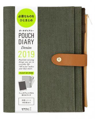 Midori Pouch Diary Denim Khaki A5