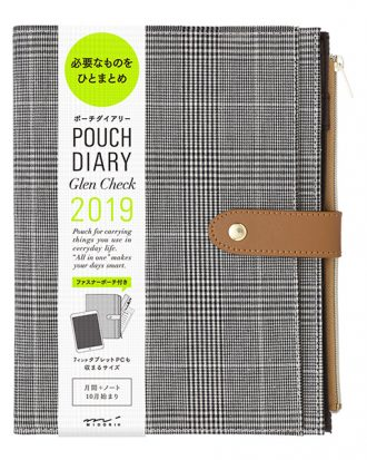 Midori Pouch Diary Glen Check A5