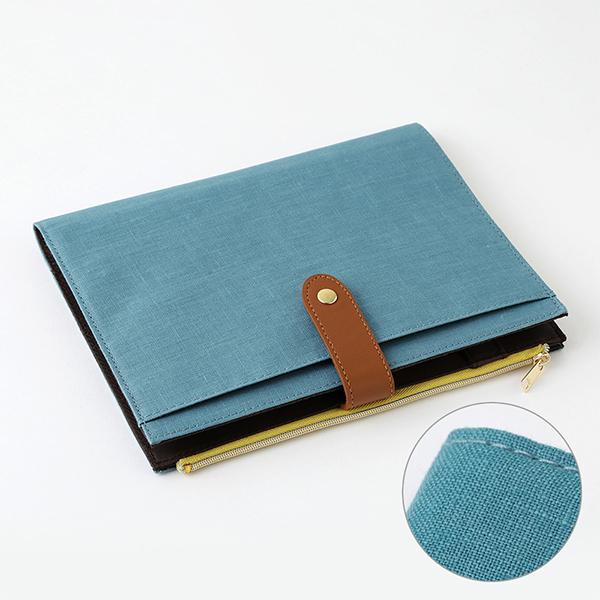 Midori Pouch Diary Linen Blue A5