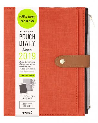 Midori Pouch Diary Linen Red A5