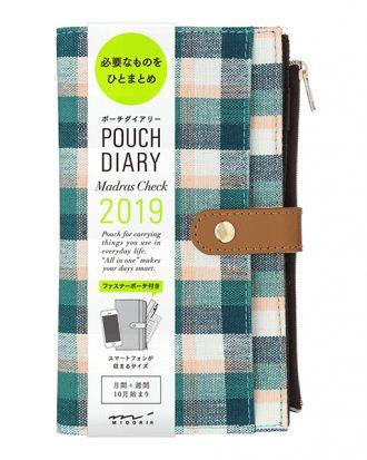 Midori Pouch Diary Madras Check Green
