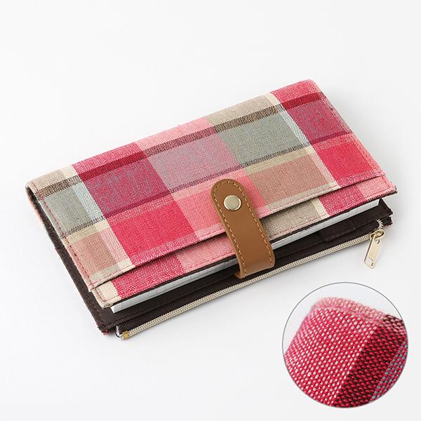 Midori Pouch Diary Madras Check Pink