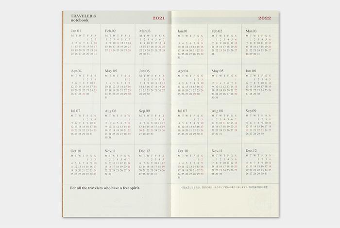 Kalendarz Traveler's Notebook Monthly 2021 miesięczny