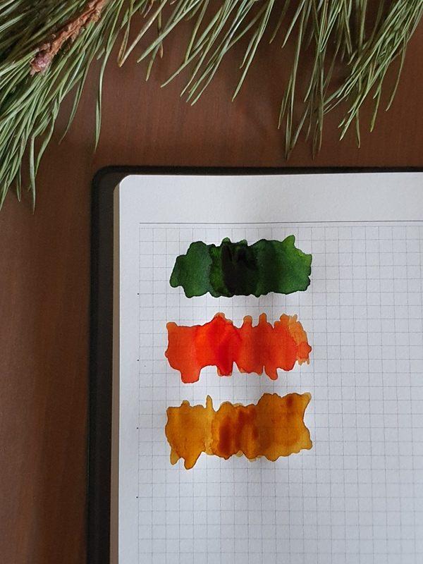 Swiateczny Atrament Pioromaniaka porownanie kolorow
